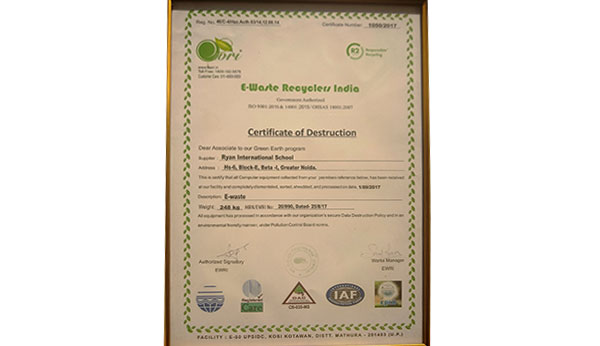 Certificate of E-Waste Recycle