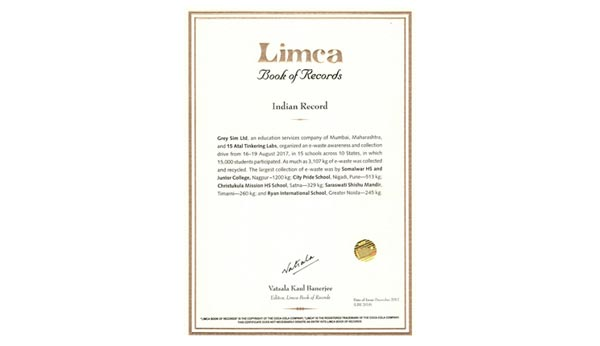 Limca Book of Records 2018 for collecting E-waste - Ryan International School Greater Noida - Ryan Group