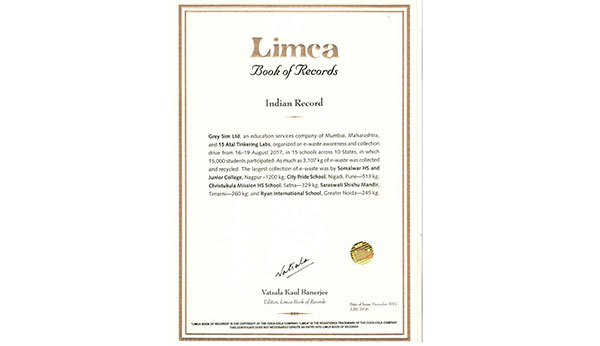 Title Holder in the Limca Book of Records