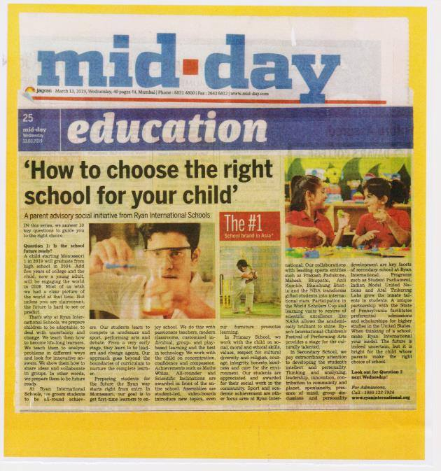 How to choose the right school for your child' article on Ryan International School was featured in Mid Day - Ryan International School, Goregaon East