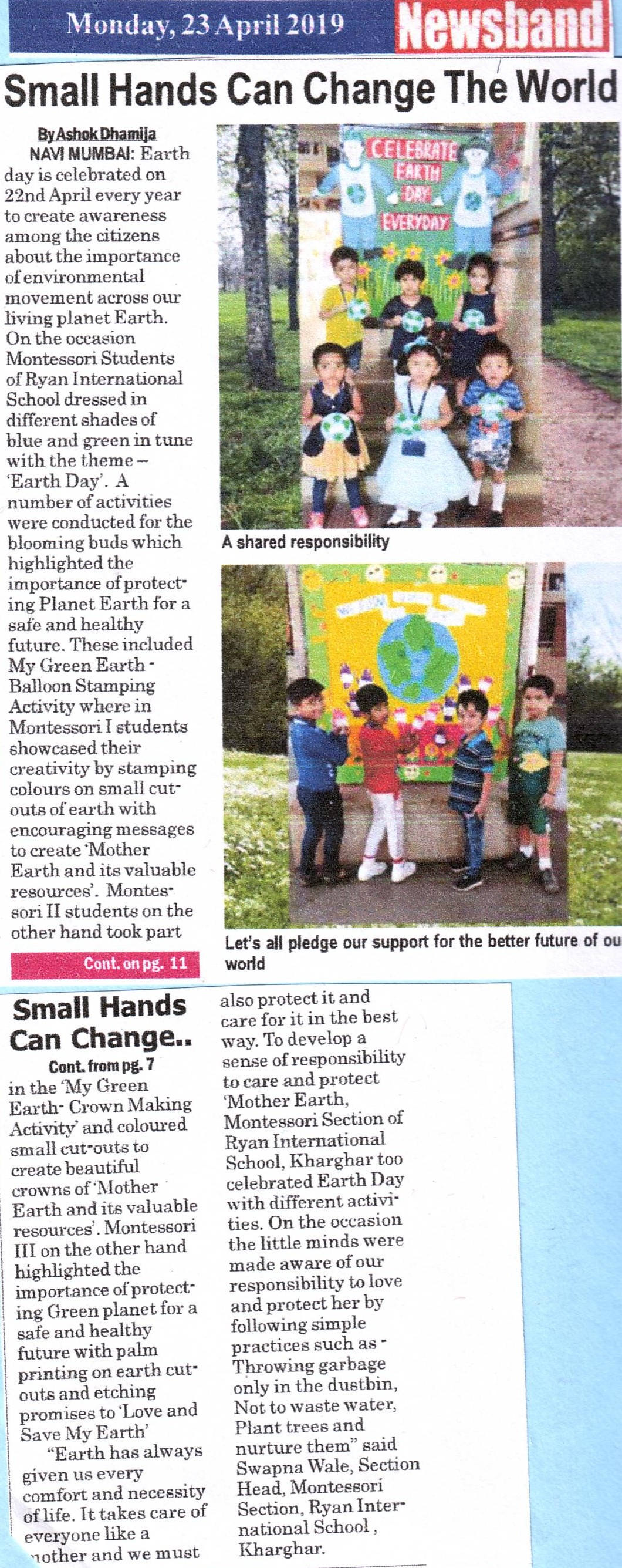 Small hands can change the world was mentioned in Newsband - Ryan International School, Kharghar - Ryan Group