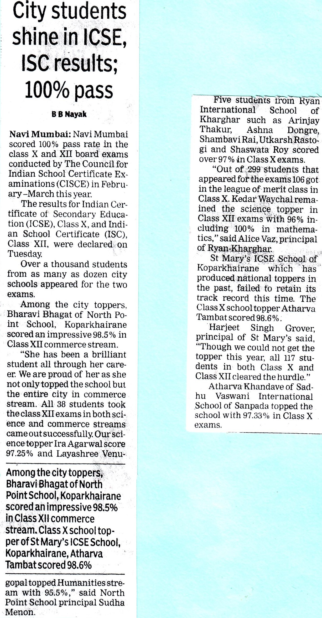 City student's shine in ICSE,ISC results; 100% pass, mentioned in Times of India - Ryan International School, Kharghar - Ryan Group