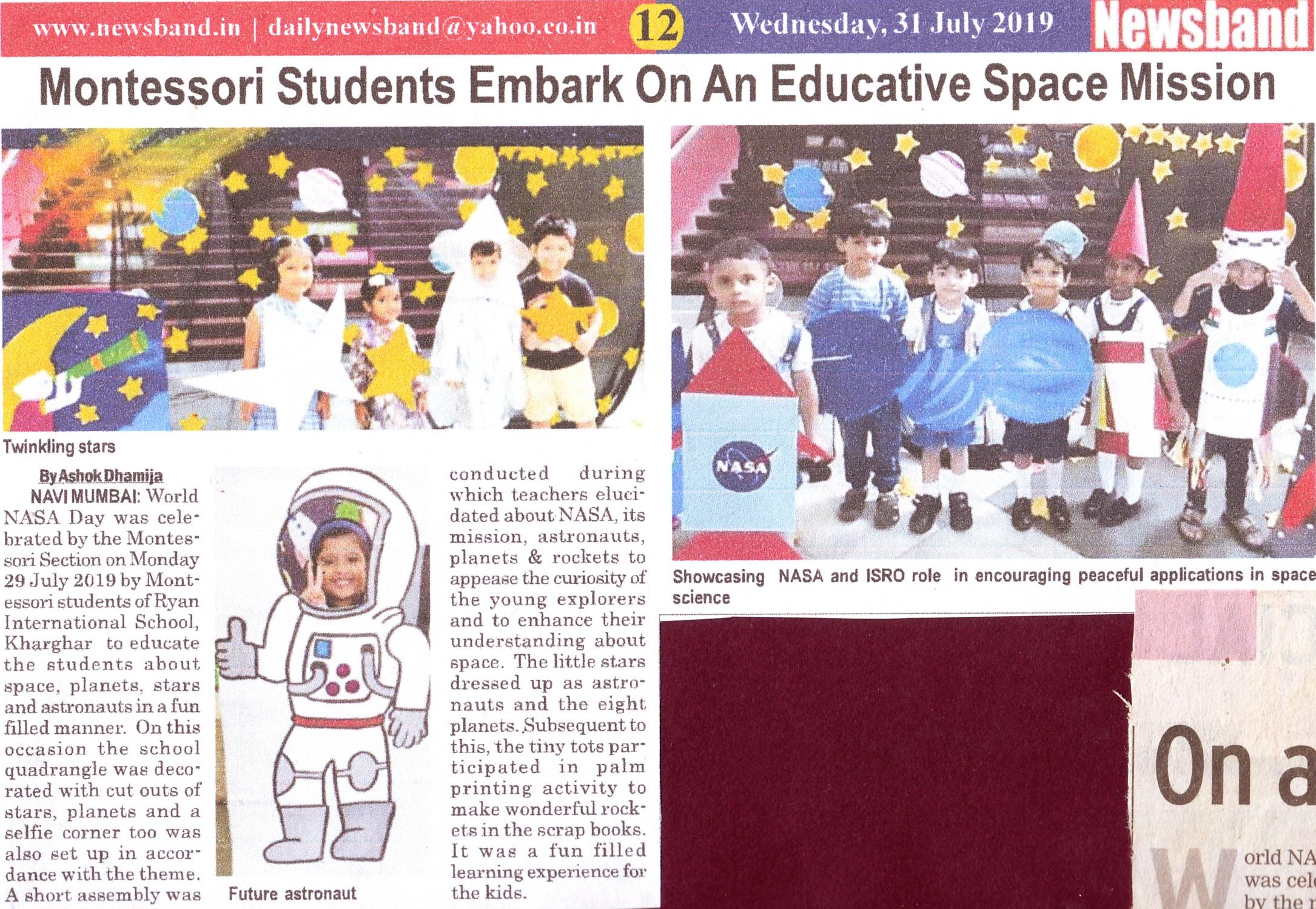 Montessori students embark on an educative space mission was mentioned in News band - Ryan International School, Kharghar - Ryan Group