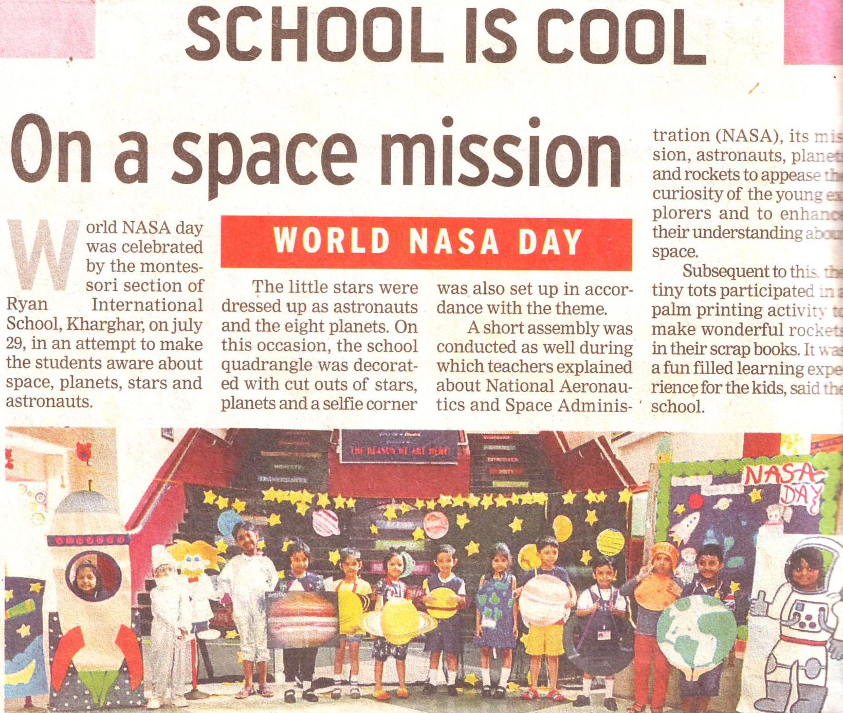 School is cool, on a space mission was mentioned in Times NIE - Ryan International School, Kharghar - Ryan Group