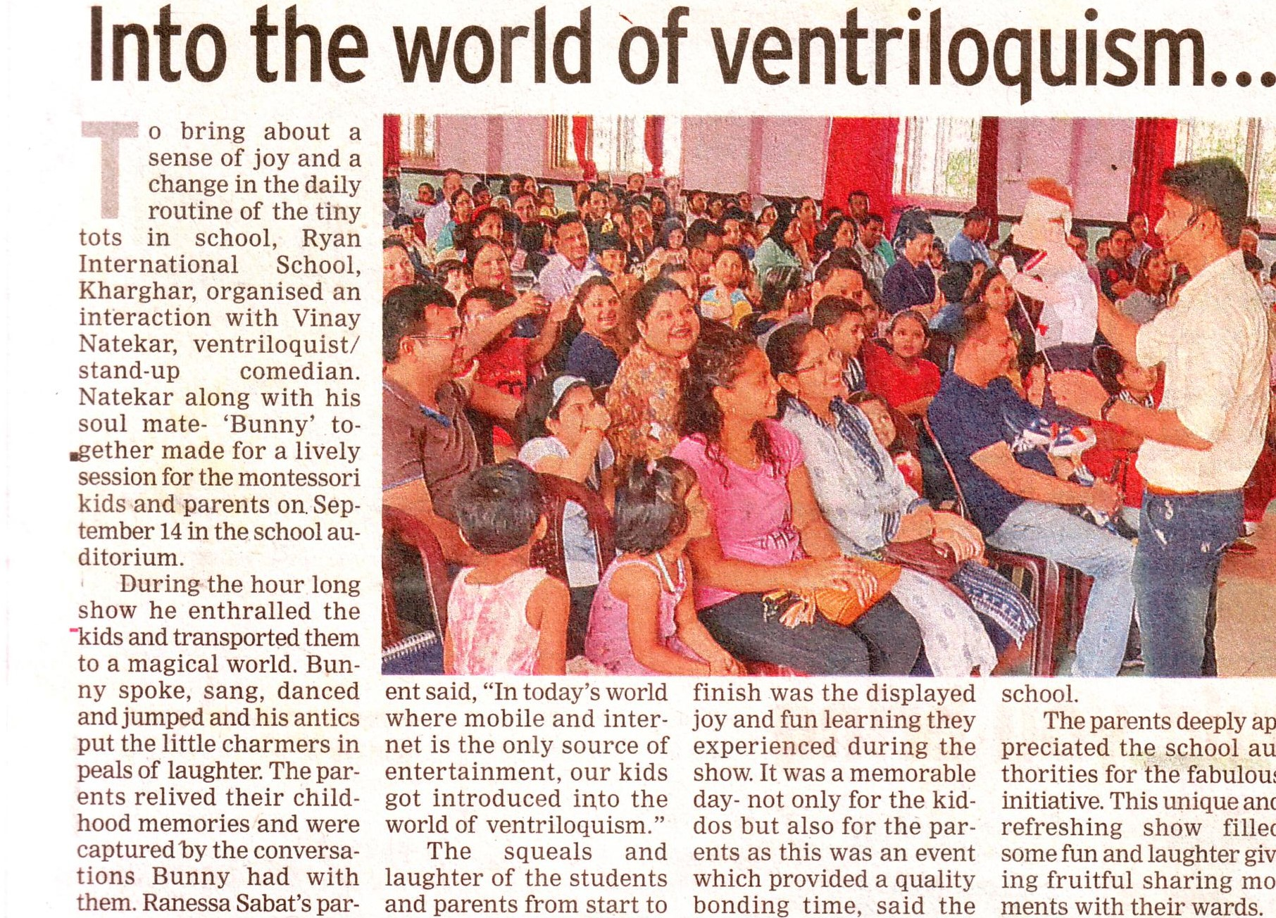 Into the world of ventriloquism was mentioned in Time NIE - Ryan International School, Kharghar - Ryan Group