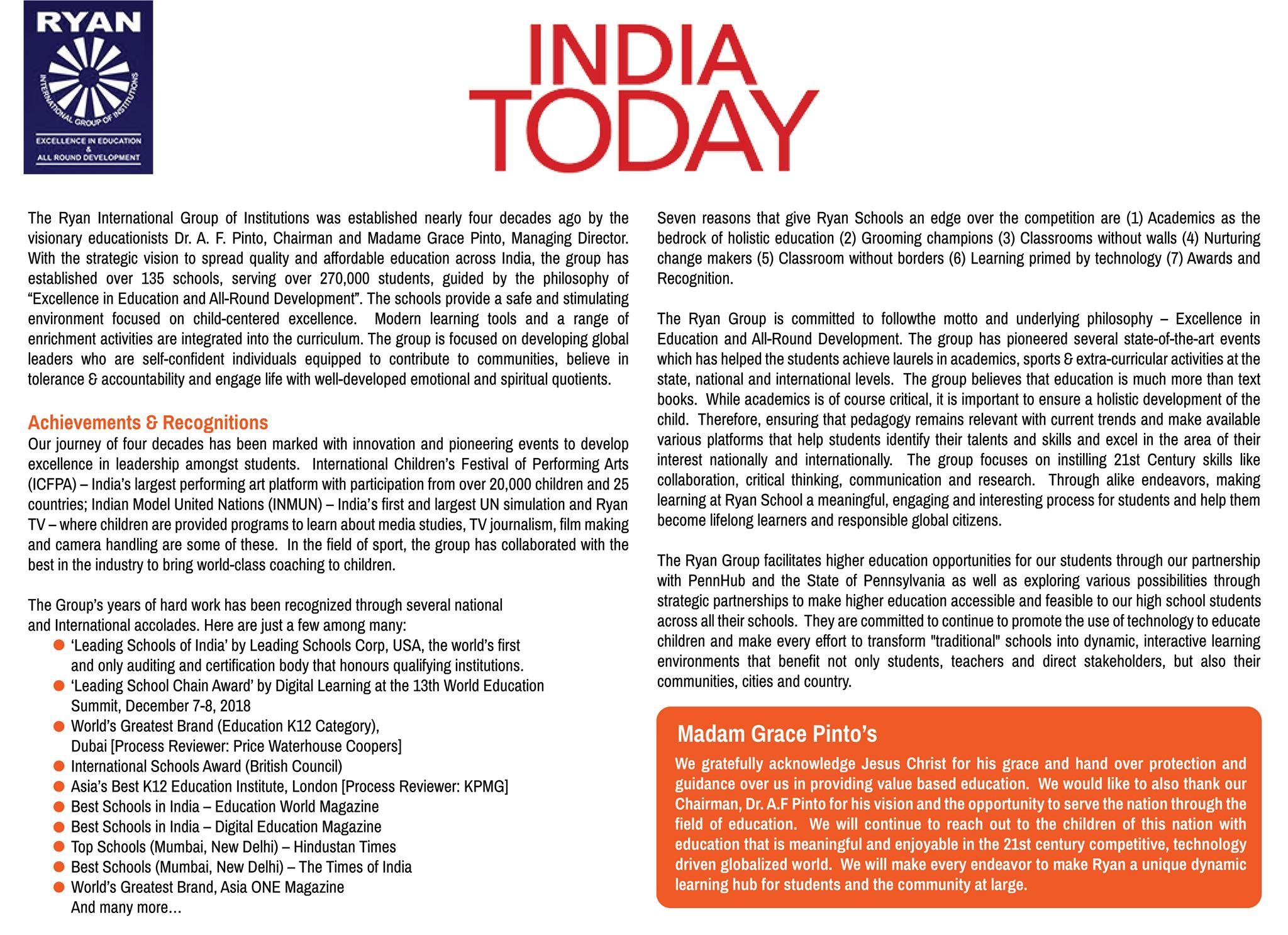 India Today recognizes Dr. Madam Grace Pinto as 'National Builders in the Education Sector'