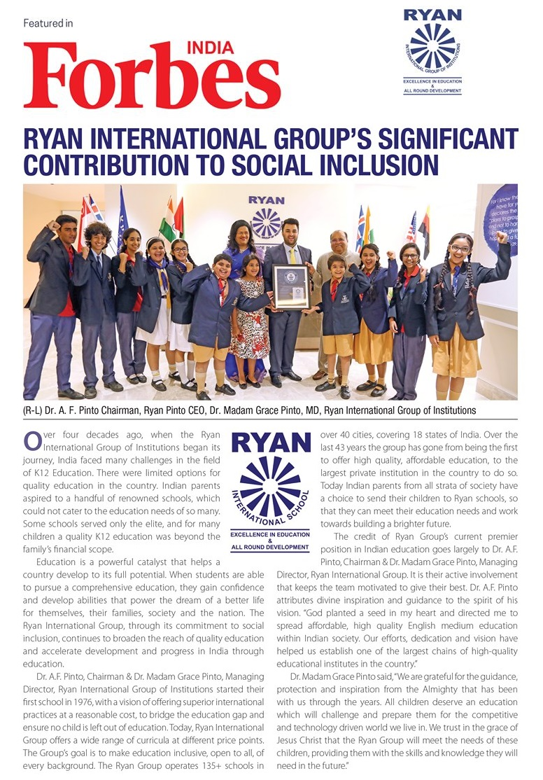 Ryan International Group Featured in Forbes India