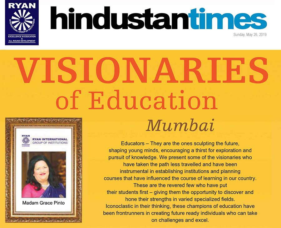 Madam Grace Pinto featured among the list of eminent 'Visionaries of Education' by Hindustan Times