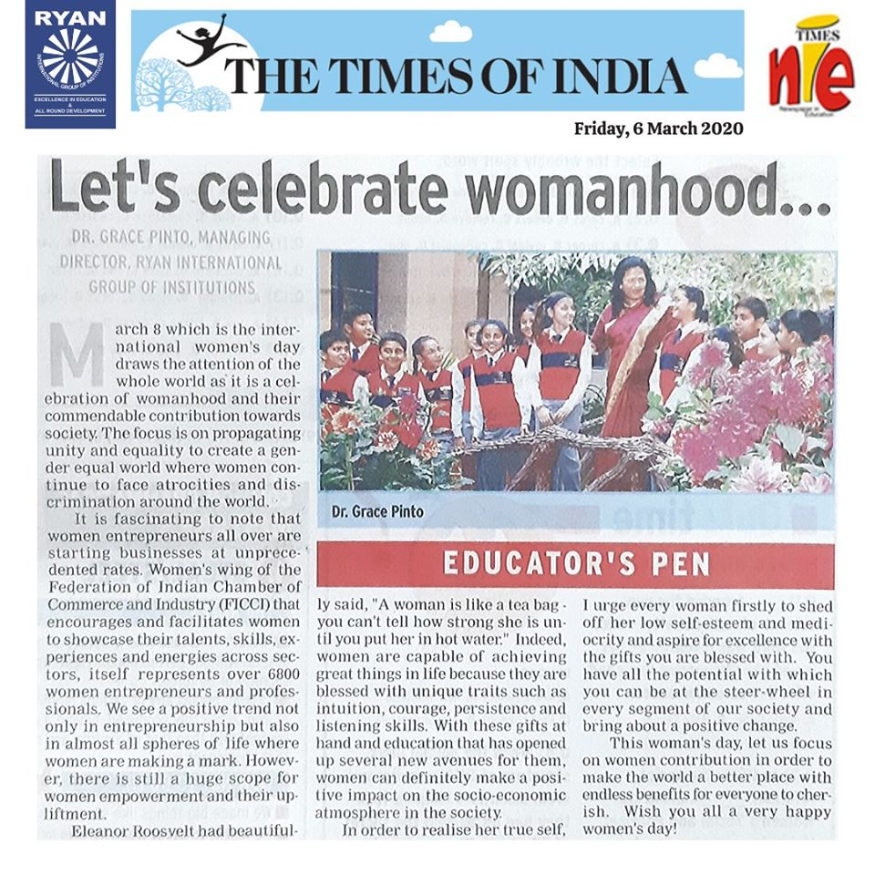 The Times of India NIE article 'International Womens Day